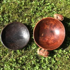 Carved Lignum Vitae Wood + carved Ebony Bowl